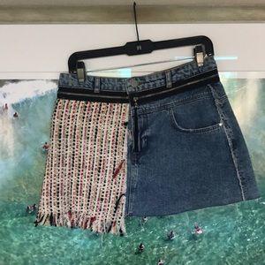 Zara Tweed and Denim Mini Skirt